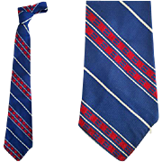 1920s - 1930s Men's Blue Silk Necktie Unique Grayco End Lock Regimental Stripe