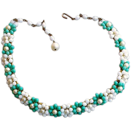 1960s Turquoise and White Glass Flower Bead Necklace Retro Fun Vintage