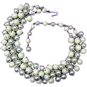 Vintage 1950's - 1960s Necklace Blue - Green Bead Cha Cha Design