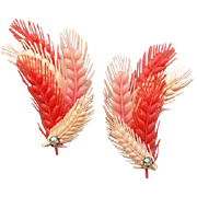 Vintage 1950s - 1950's Earrings Coral Pink Soft Peach Flexible Plastic Ear Climbers