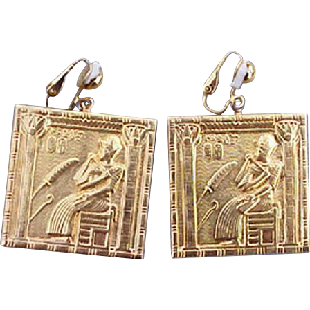 1960s Egyptian Motif Earrings Ancient Egypt Hieroglyphics Fun