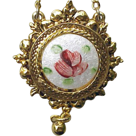 Sweet Vintage Rose Guilloche Enamel  Necklace by ART
