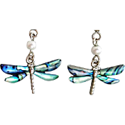Darling Dragonfly Pierced Earrings Luminescent Abalone Shell Damselfly