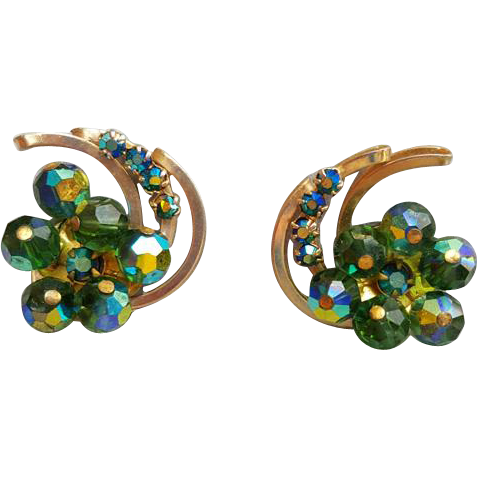 1960s Crystal and Rhinestone Clip On Earrings Blue Green Special Sparkle