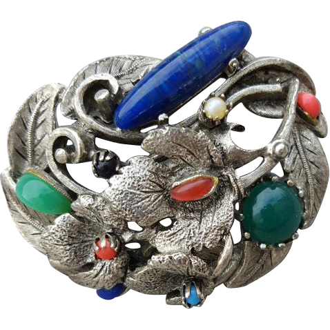 Large Chunky Organic Vintage Brooch Multi Faux Stones