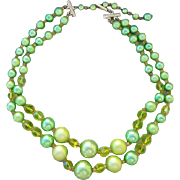 1960s Vintage Bead and Crystal Necklace Gorgeous Greens