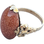 Vintage Ring Old Gold Stone 10k Gold Filled Fancy Setting