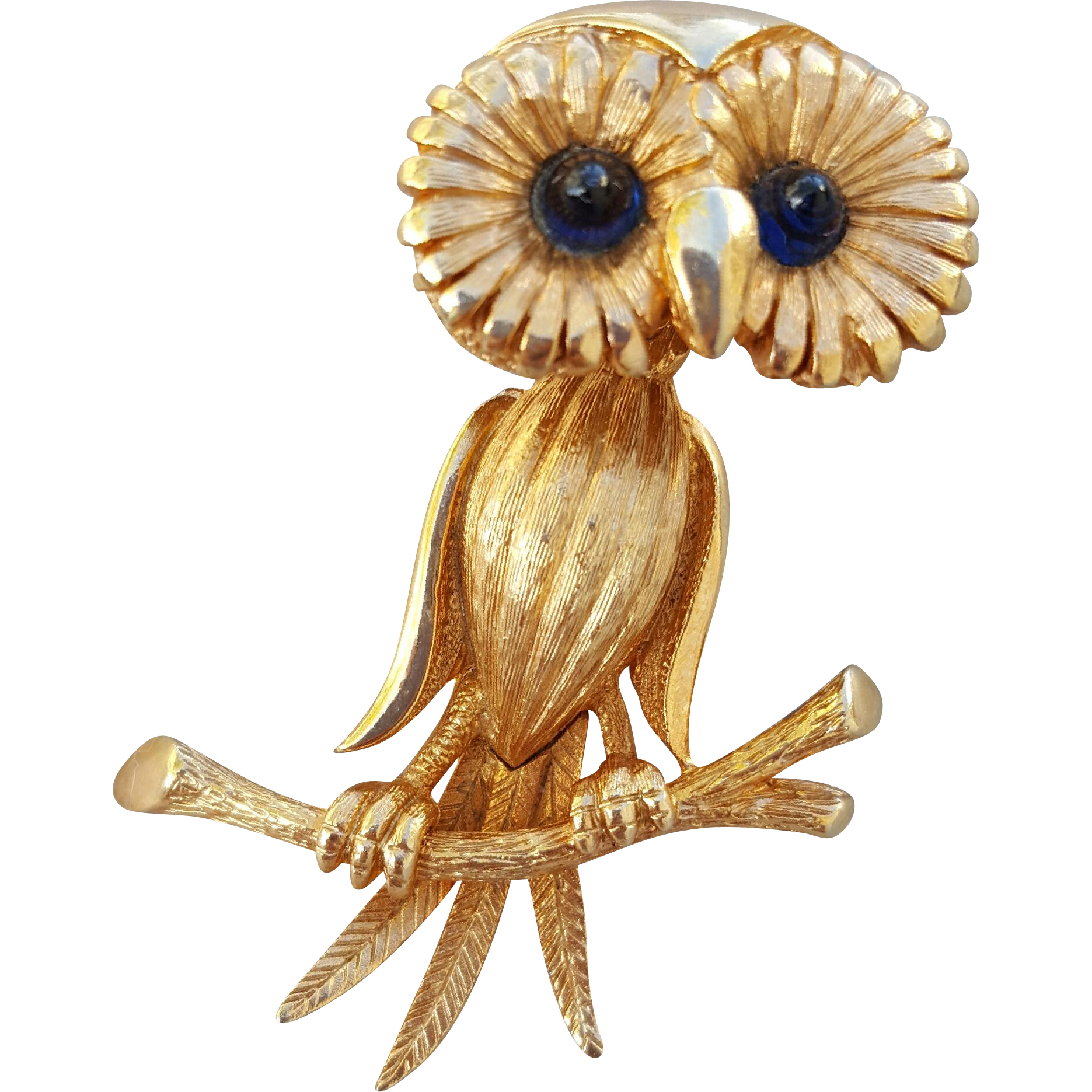 Vintage 1960s Owl Brooch Trembler Head
