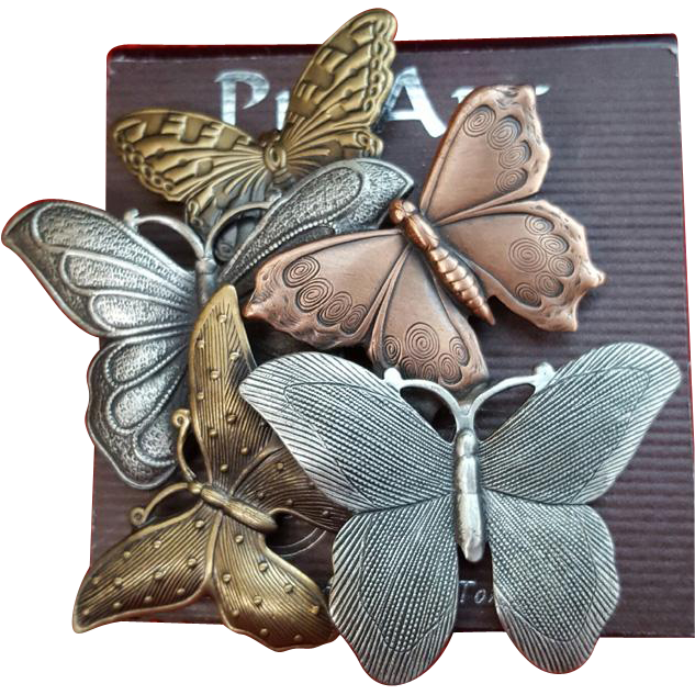 Mix Metal Butterfly Collage Brooch Pin Art Spoontiques Mint