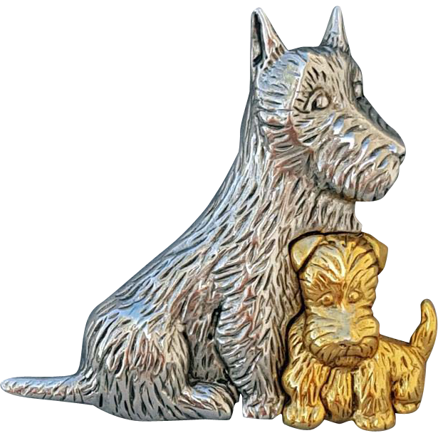 Scottish Terrier Dogs Brooch Mom and Puppy Scotty