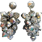 Vintage 1960s Cascading Crystal Clip  Earrings for Custom Swarovski