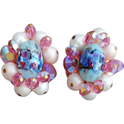 Gorgeous 1960s Pink Blue Art Glass and Crystal Earrings Clip On