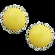 1960s Earrings Daisy set Jonquil Crystal Rhinestones Summer Sweet