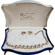 1950s Pink Rhinestone and Faux Pearl Parure in Presentation Box