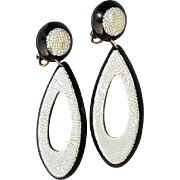 Vintage Black and White  Clip On Earrings Laminated Cellulose Acetate Likely Lea Stein