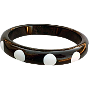 Vintage Polka Dot Lucite Bangle Black and White 1980s Fashion Fun