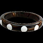 Vintage Polka Dot Lucite Bangle Black and White 1980s Fashion Fun