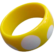 1980s Extra Wide Lucite Vintage Bangle Bracelet Yellow and White Polka Dots