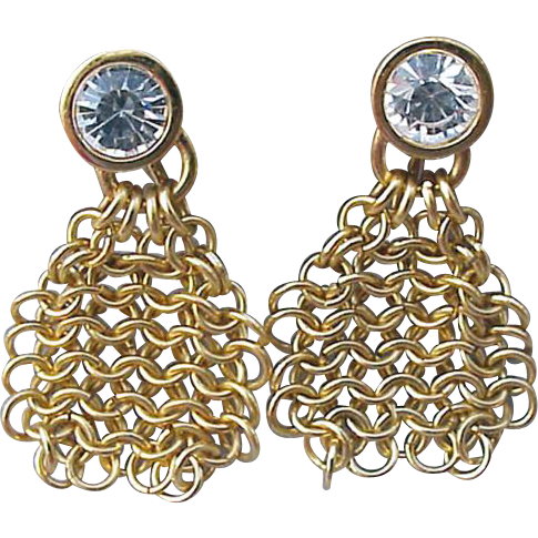 Vintage Swarovski Fluid Chain Link Crystal Earrings clip on