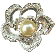 Crystal Rhinestone Faux Pearl Brooch Open Rose Wedding Bouquet Perfect