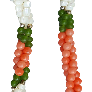 Vintage Coral, Jade and Mother of Pearl Torsade Necklace