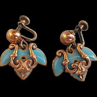 Gorgeous Matisse Copper and Blue Enamel Earrings 1950s Vintage