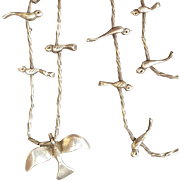 Sterling Silver Bird Fetish Necklace Native American Design 17.1 Grams