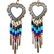 Vintage Sterling Heart Earrings Gemstone Colored Bead Dangles Southwest Design