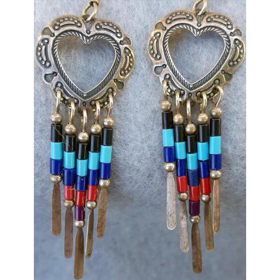 Vintage Sterling Heart Earrings Gemstone Colored Bead Dangles Southwest Design