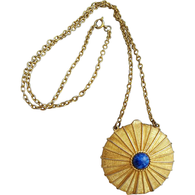 Estee Lauder Empire Solid Perfume Necklace Compact Youth Dew Vintage  1973