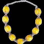 Long Bakelite Bead Necklace Huge Golden Swirled Beads