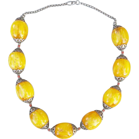 African Copal Trade Bead Necklace Large Swirling Gold Beads