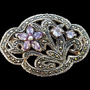 Vintage Sterling Amethyst Marcasite Brooch .925 Sparkle