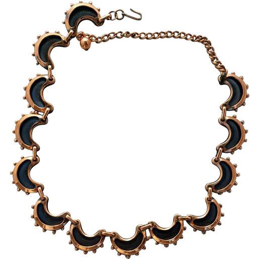 Dramatic Vintage Renoir Necklace Copper Shadow Box Mid Century