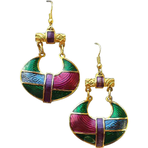 Edgar Berebi Vintage Enamel Earrings Vivid 1980s Color Splash