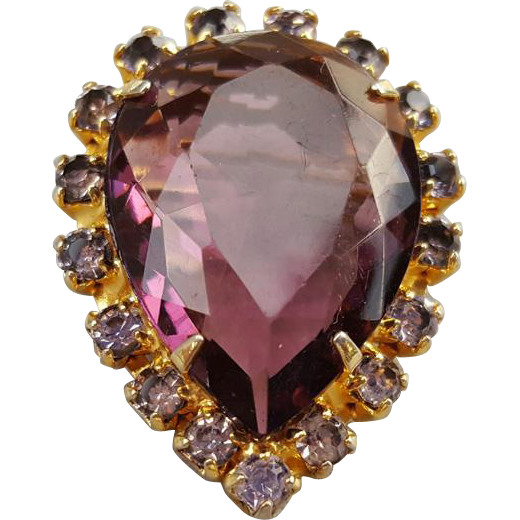 Vintage Purple Rhinestone Brooch Teardrop Shape Amethyst Color