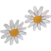 Vintage Daisy Flower Earrings Accessocraft Comfort Clips