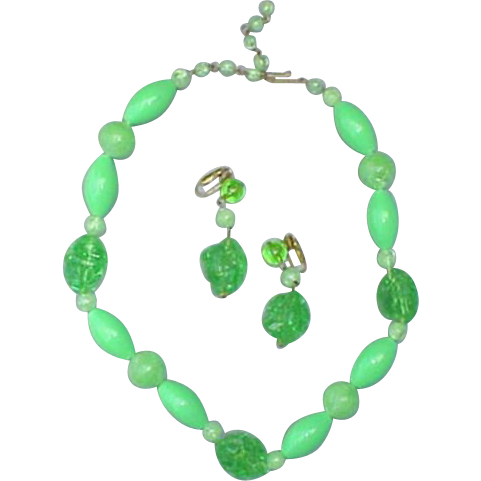 1960s Necklace and Earrings Lime Green Candy Crushed Rocks