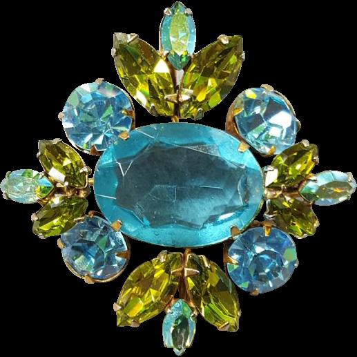 Large Vintage Rhinestone Brooch Aqua, Olive, Blue, Aurora Borealis