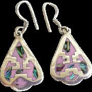 Vintage Earrings Native American Motif Arrow Head Thunder Bird Inlay Mexico