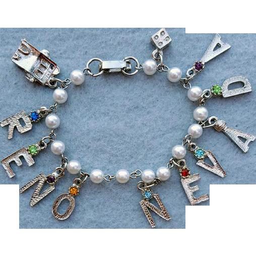 1960s Charm Bracelet Reno Nevada Rhinestones Faux Pearls Size Small