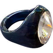Marbled Blue Moon and Green Bakelite Ring Huge Rivoli Rhinestone Size 6-3/4