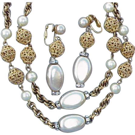 1960s Bergere Necklace and Earrings Vintage Demi Parure Gold Faux Pearl