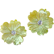 Luminous Mother of Pearl Clip on Earrings Dyed Baby Peep Chick Yellow