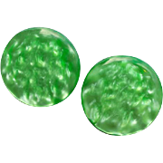 1960s Green Lucite Moonglow Clip Earrings Luminous Discs
