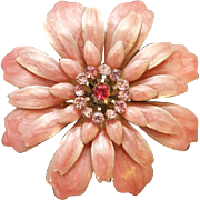 Lush Pink Enamel Metal Flower Brooch with Rhinestones