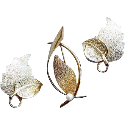 1960s Brooch Earrings 12k Gold Filled  with Real Pearl