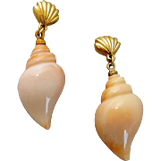 Vintage Pierced Sea Shell Earrings Sea Swirl by Avon