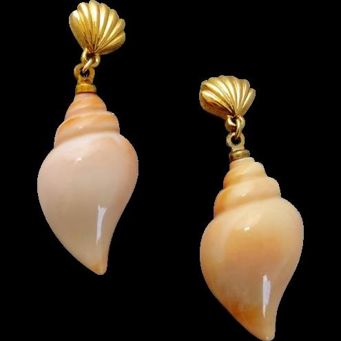 Vintage Pierced Sea Shell Earrings Sea Swirl by Avon