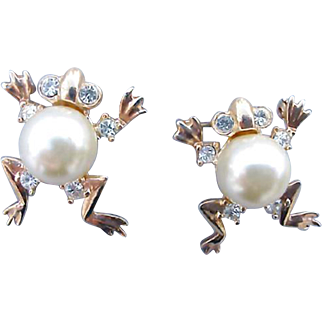 Two Faux Pearl Belly Frog Brooches Scatter Pins with Rhinestones